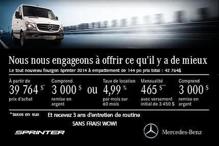Retrouvez le Sprinter 2014 à l'achat à compter de 39 764$