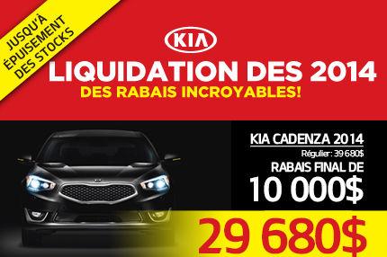Liquidation des Kia Cadenza 2014 à 29 680$