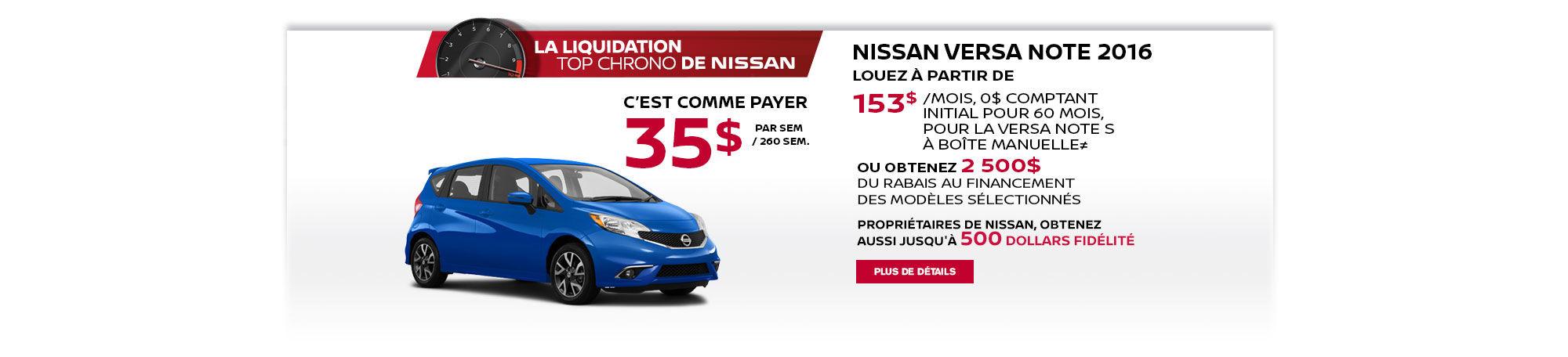 La liquidation top chrono de Nissan - Versa