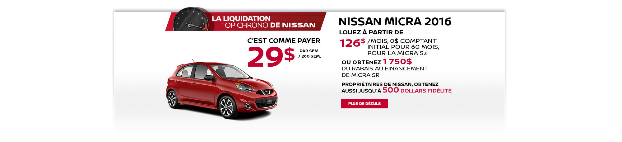 La liquidation top chrono de Nissan - Micra