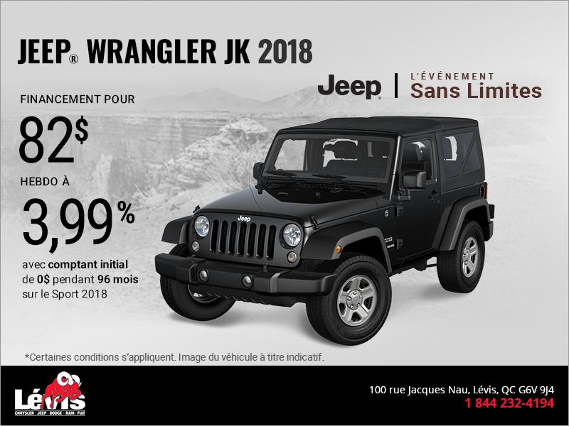 conduisez un jeep wrangler 2018 promotion l vis chrysler l vis. Black Bedroom Furniture Sets. Home Design Ideas