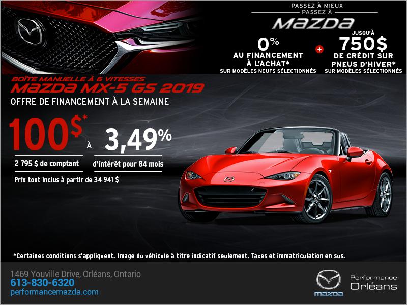 Procurez-vous la Mazda MX-5 2019 aujourd'hui! chez Performance Mazda à Ottawa