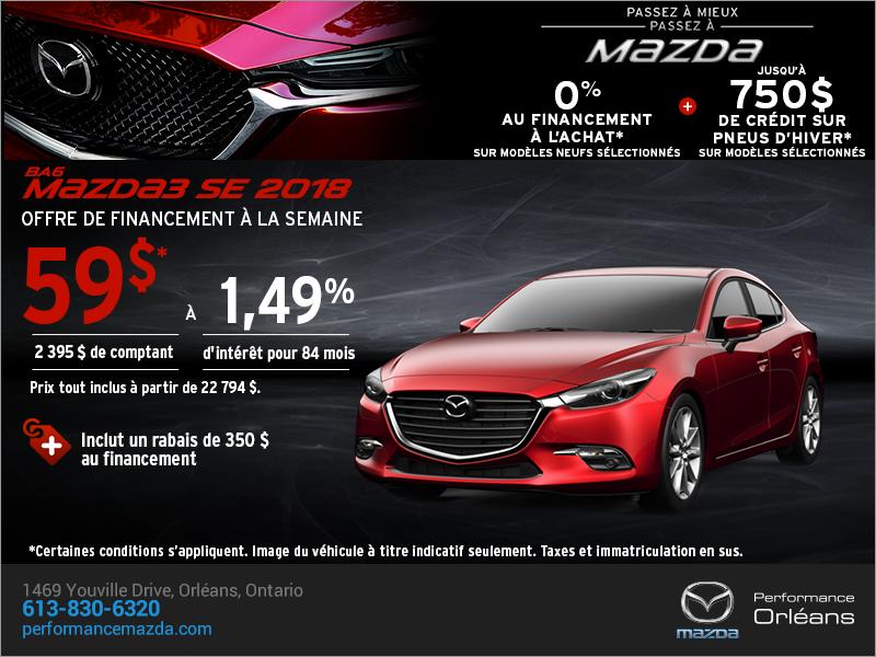 Procurez-vous une Mazda3 2018 aujourd'hui! chez Performance Mazda à Ottawa