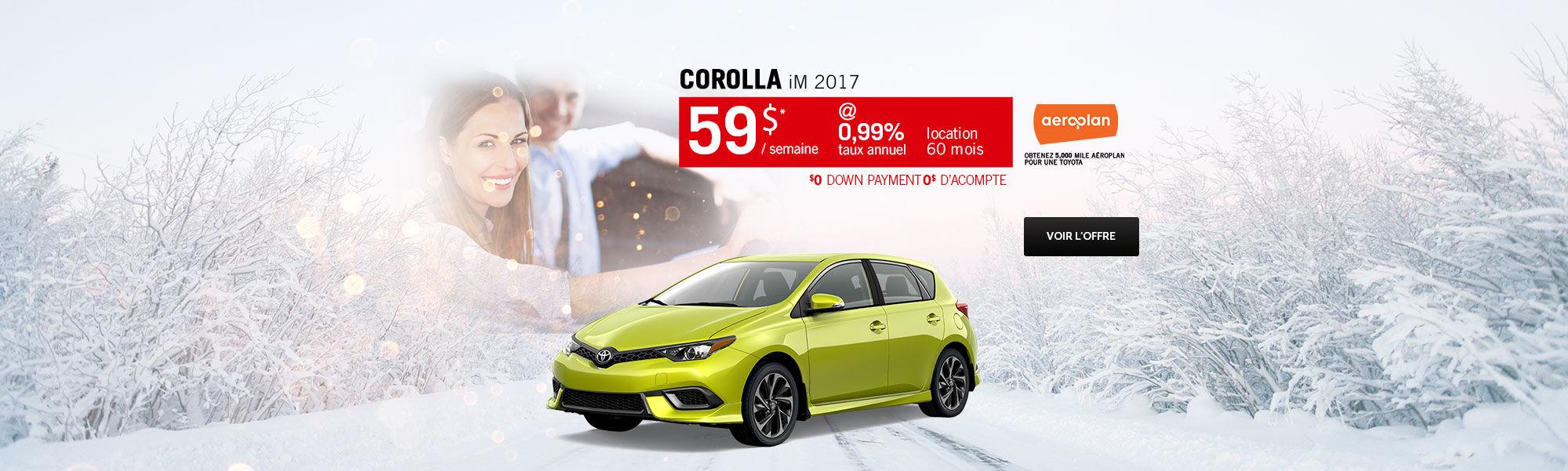 Saison des choix sensés - Corolla iM