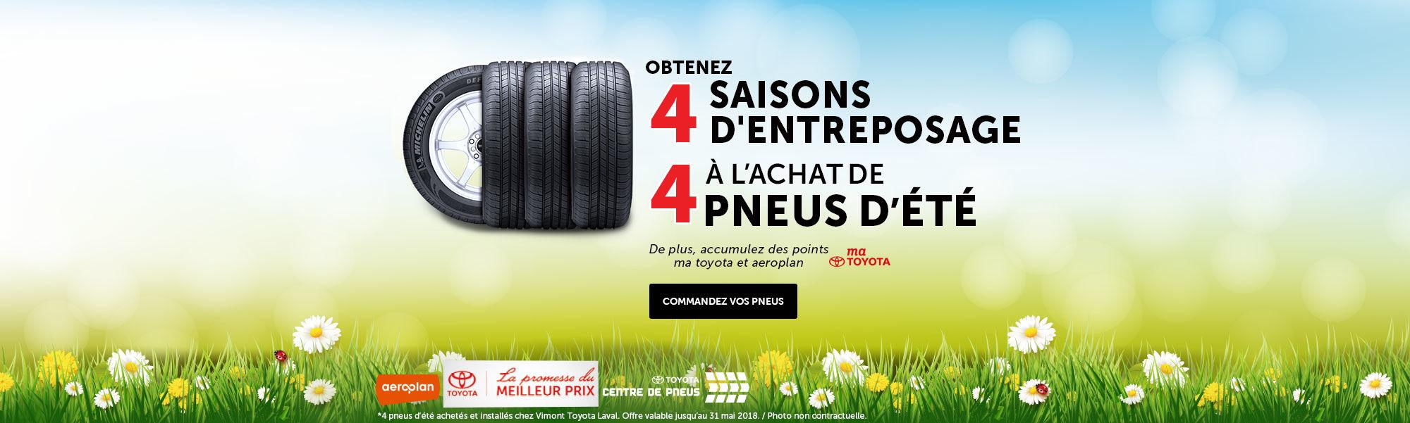 4 saisons d'entreposage à l'achat de 4 pneus d'été - web