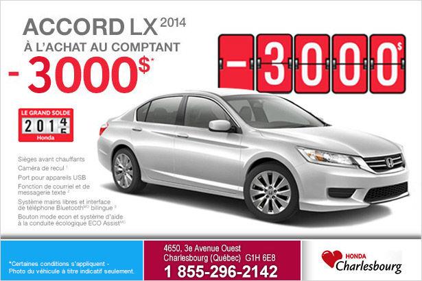 Rabais de 3000$ sur la Honda Accord LX 2014