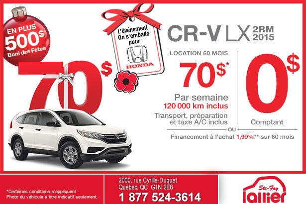 Louez la nouvelle Honda CR-V LX 2RM 2015 à partir de 70$ par semaine