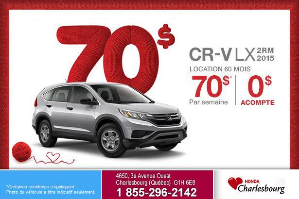 Location du Honda CR-V LX 2RM 2015 à partir de 70$ par semaine