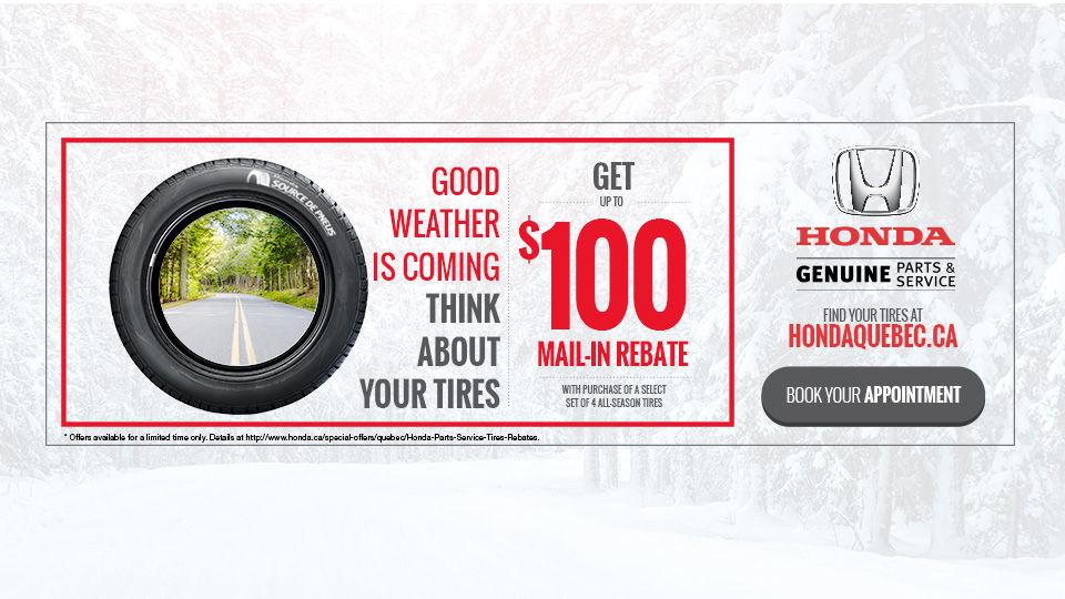Honda Tires $100 Mail-in Rebate
