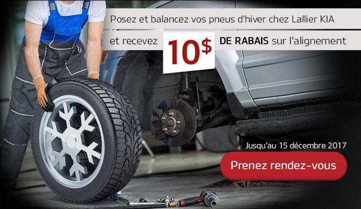 10$ de rabais l'alignement de pneu