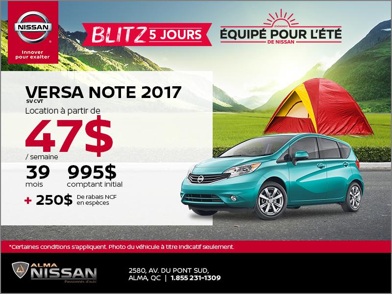 Nissan Versa Note 2017 | Blitz 5 jours