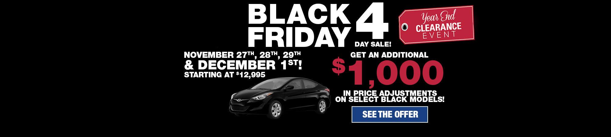Black Friday 4 day sale!