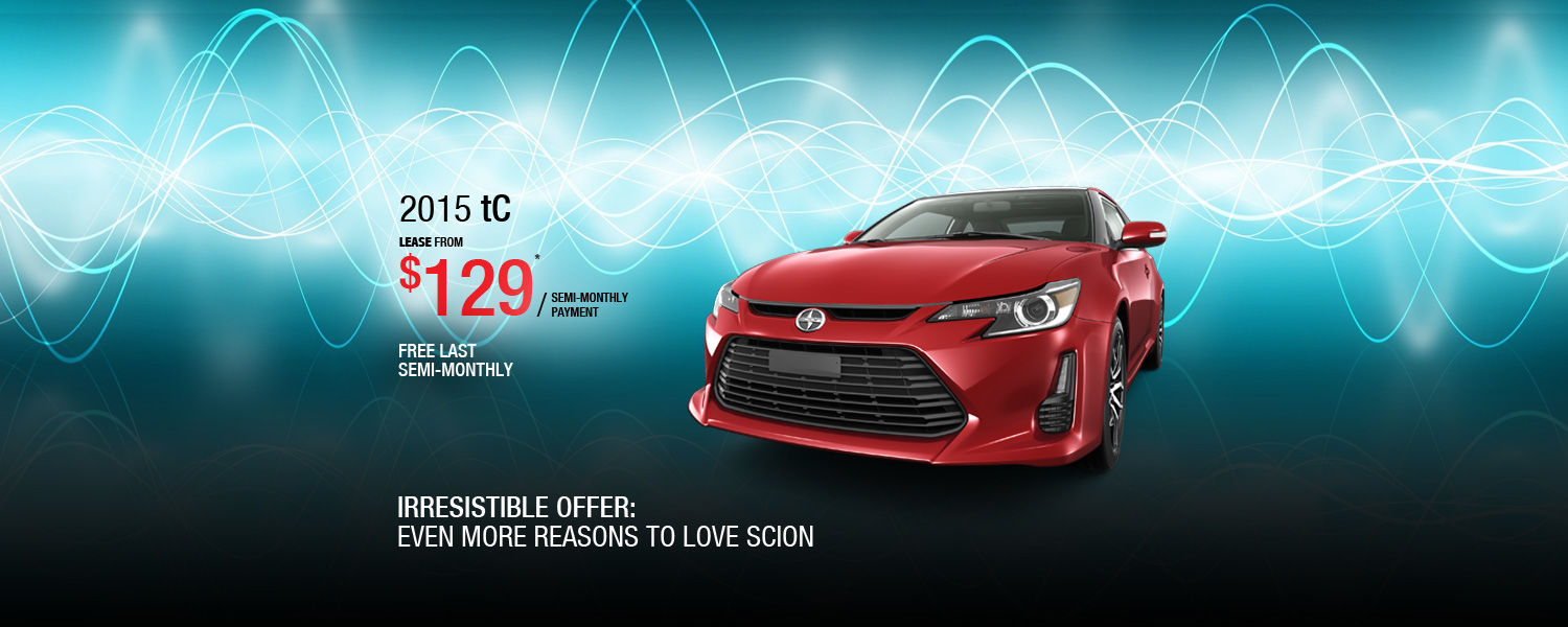 Lease the 2015 Scion tC from $129/semi-monthly payment
