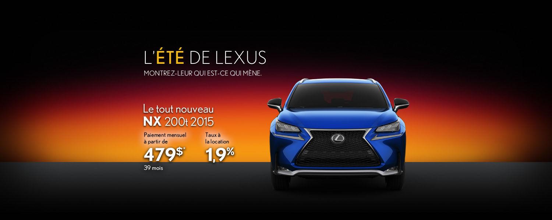 Louez le tout nouveau Lexus NX 200t 2015 à partir 479$ par mois