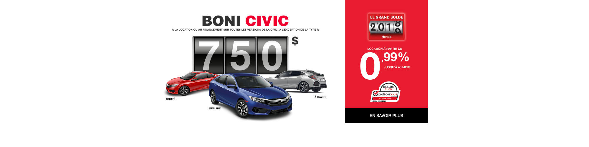 Rabais 750$ Honda Civic