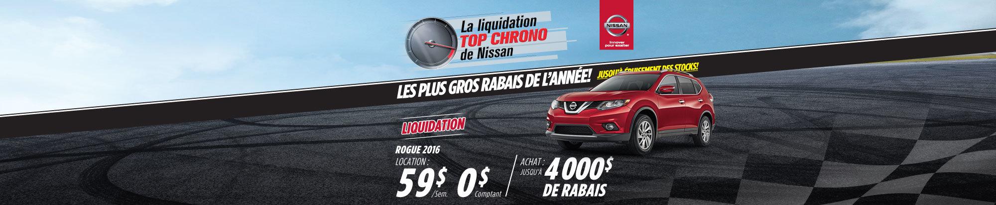 La liquidation top chrono de Nissan - Rogue 2016