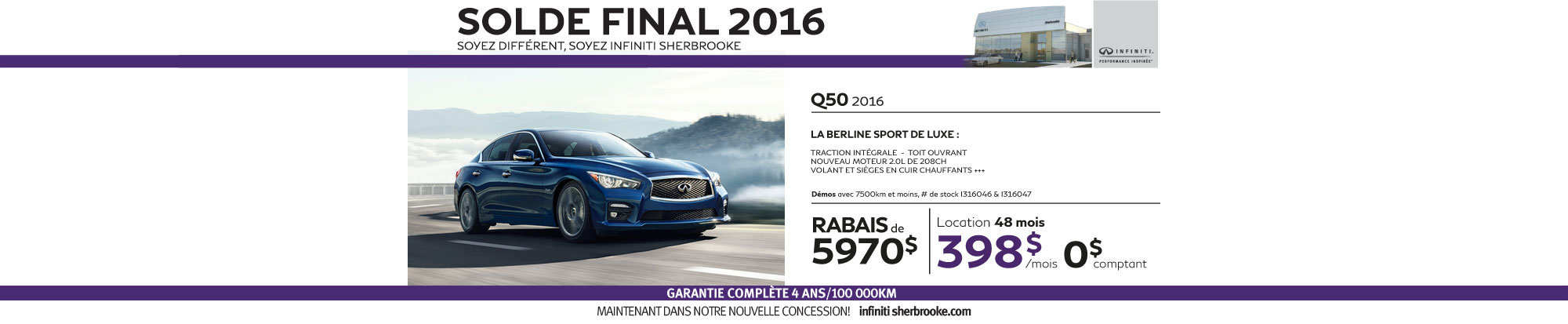 La nouvelle Q50 2016 est arrivée