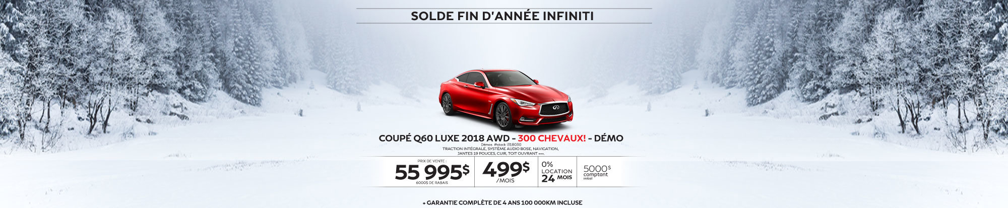 COUPÉ Q60 SPORT 2018 AWD  300 CHEVAUX! Démos web