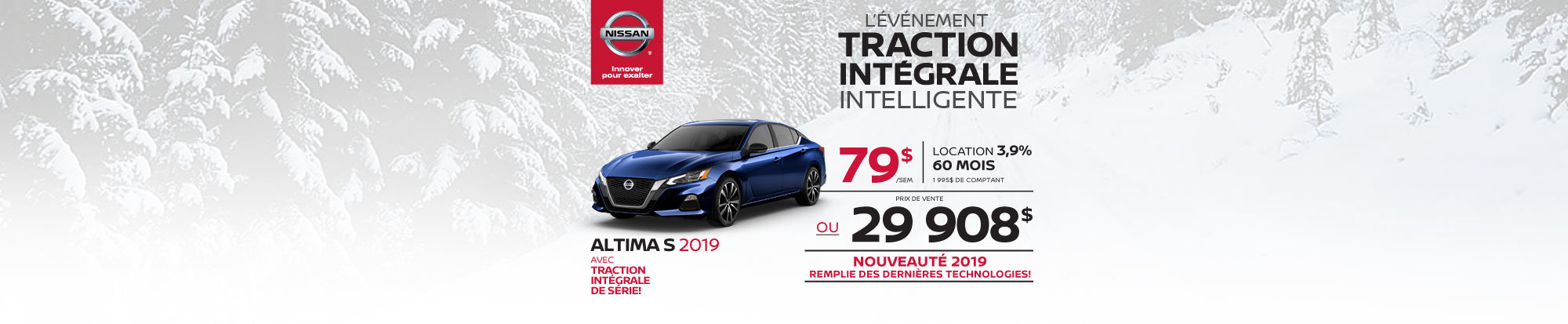 La toute nouvelle Altima S 2019 à Traction intégrale! (header)