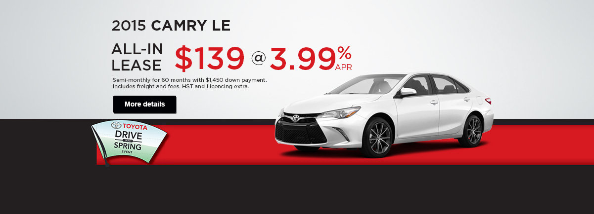 Receive a great deal on the 2015 Camry