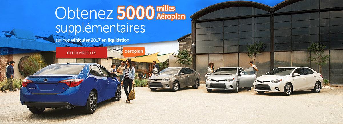 Toyota: Obtenez 5 000 milles Aéroplan supplémentaires sur nos véhicules 2017 en liquidation