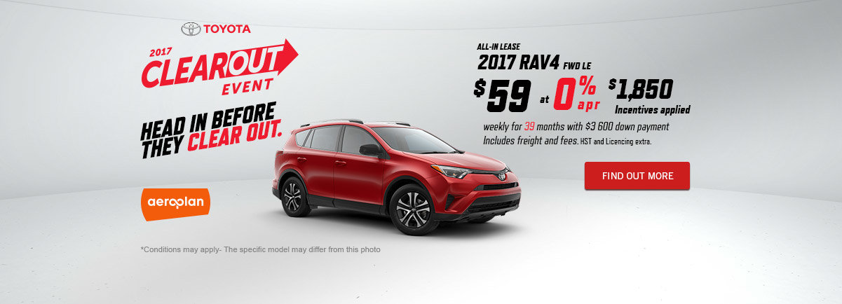 2017 Toyota Clearout Event - Rav4