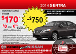 Save on the 2014 Nissan Sentra at Rendez-Vous Nissan!