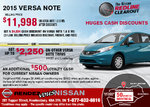Get the 2015 Nissan Versa Note today!