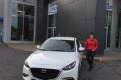 Félicitations à Mme Danielle Masse pour l'achat de son nouveau Mazda 3 2017