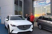 Félicitations Monsieur Boudreau pour votre nouvelle Mazda CX9 2017