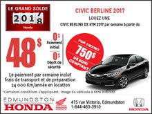 Obtenez la Honda Civic 2017 aujourd'hui!