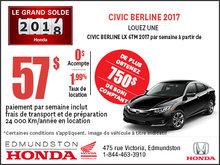 Obtenez la Honda Civic Berline LX 2017 aujourd'hui!