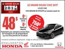 Obtenez la Honda Civic Berline 2017 aujourd'hui!