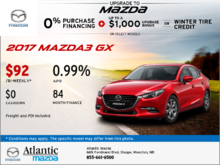 Save on an all-new 2017 Mazda3 GX today!