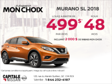 Louez le Nissan Murano 2018 dès aujourd'hui! chez Capitale Nissan