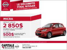 Nissan Micra 2017 en location chez Capitale Nissan