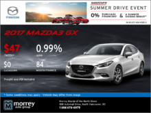 Get a 2017 Mazda3 GX at Morrey Mazda!