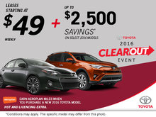 Toyota's 2016 Clearout Event