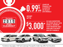 It's the Honda Model Clearout Event!