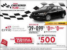 Honda checkered flag event: 2015 Honda Civic
