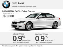 Get the 2016 BMW 340i xDrive Today!