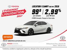 Obtenez la Toyota Camry 2018 aujourd'hui!