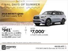 2018 Infiniti QX80 Full size Luxury SUV