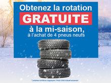 Obtenez la rotation gratuite à l'achat de 4 pneus neufs