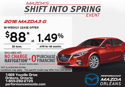 Lease the 2016 Mazda3 G today!
