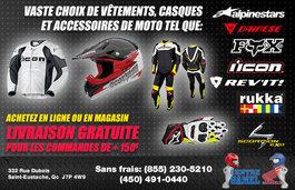 Vaste choix de vêtements, casques et autres accessoires de moto