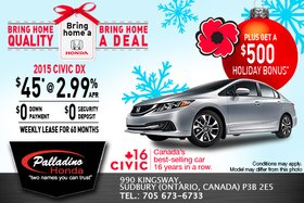Lease the 2015 Honda Civic DX for as low as $45 weekly!