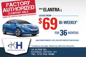 The 2014 Hyundai Elantra L is now only $69!