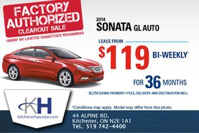 Get the 2014 Hyundai Sonata GL AT - Lease it for $119