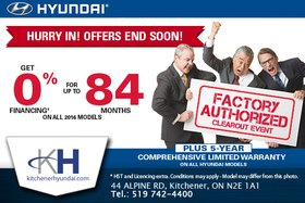 It's the Hyundai Factory Authorized Clearout Sale!